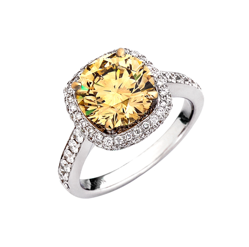 18kt wg ring 3.23 Fancy Yellow VS2 center 83=.85cttw pave and bead set band
